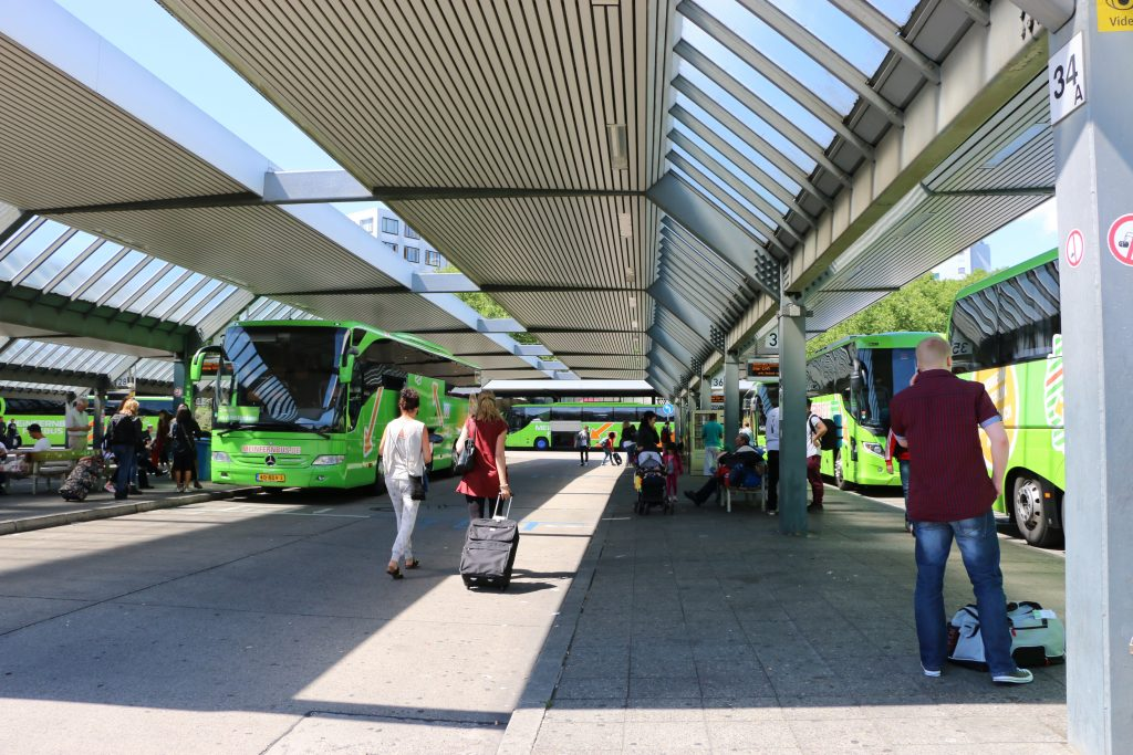 The coach centre in Berlin - we came here from Hamburg by a flixbus coach.