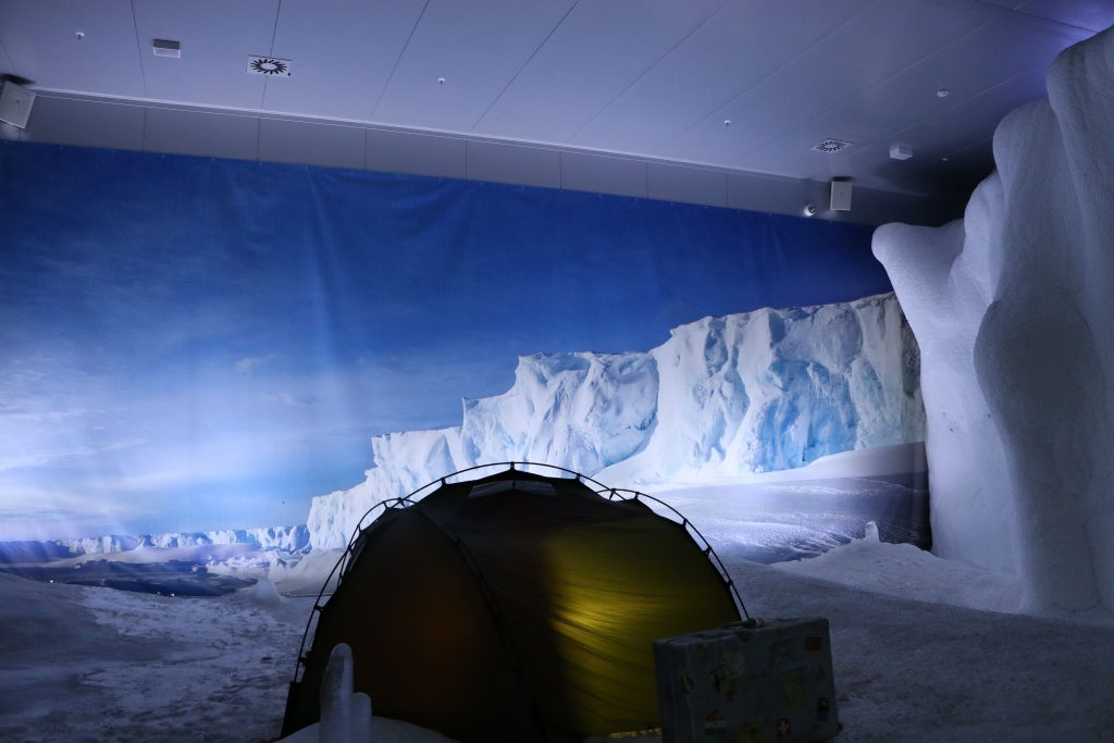 In this room which represents the Antarctica it is freezing cold