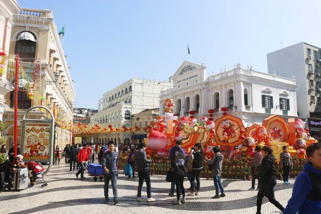 Decoration for the chinese new year in front of portuguese architecture