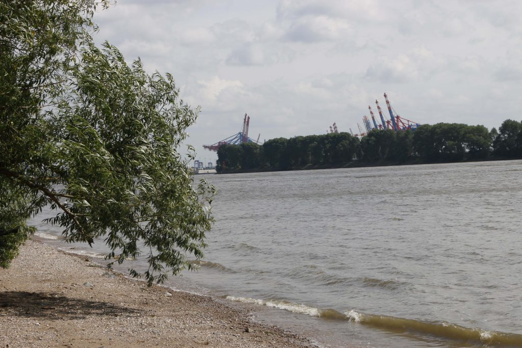 The beach at the river is a great place to take a walk. Pay attention to the big ships passing by in the middle of the river!
