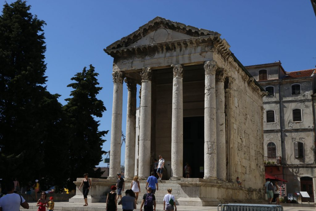The Augustus temple seen from the forum