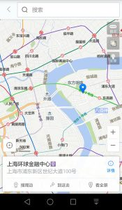 This screenshot shows the same part of Shanghai - with all metro lines available but a completely Chinese interface.